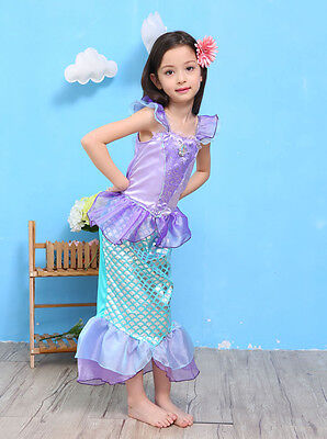 Girls Kids Dress Cosplay Bling Mermaid Princess Mermaid Dress Party Costume Gift