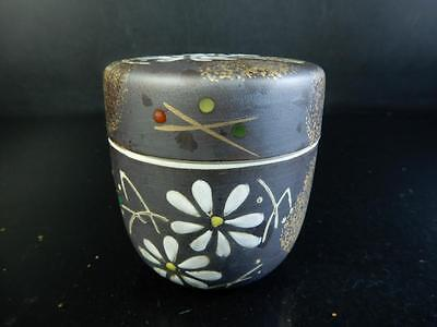 F5536:Japanese Kiyomizu-ware Flower pattern TEA CADDY Chaire Container