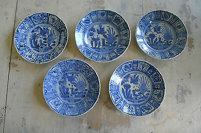 Unusual old set of five Japanese blue and white porcelain plates