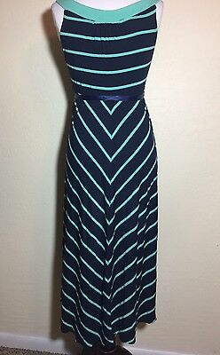 Pre-owned XS Maternity Striped LIZ LANGE Navy & Green Summer Dress with Belt