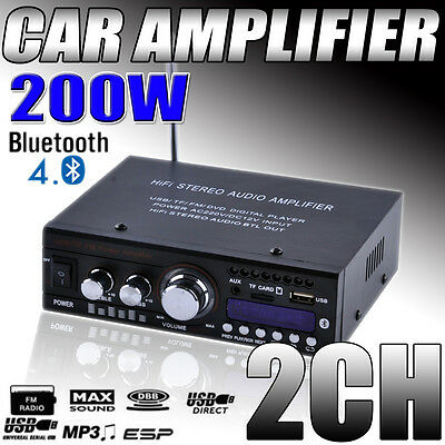 Mini Bluetooth 200WATT 2CH Car HIFI Stereo Audio Power Amplifier AMP MP3 USB 12V