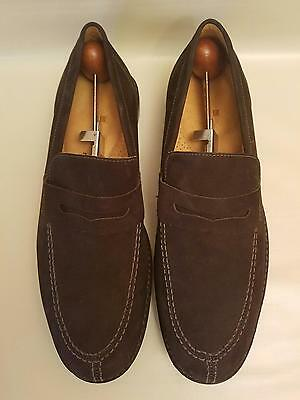Men's Sandro Moscoloni 9.5 Loafers Brown Suede Slip On Casual Shoes