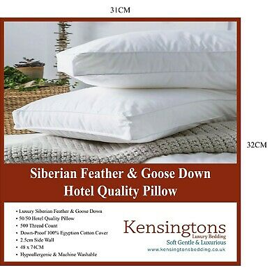 5 Star Hotel Quality Hungarian Goose Down Goose Feather Pillow 100% Cotton cover