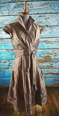 Adrianna Papell Silk Dress Formal Cocktail Mother of the Bride Size 10 Shimmer