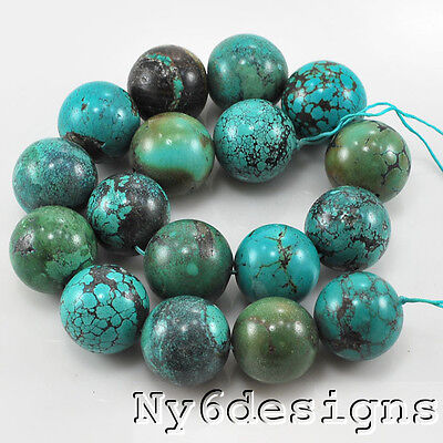 "* 24mm Natural Hubei Blue Turquoise Round Beads 15""(TU611)m for DIY Jewelry"