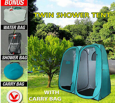 Pop Up Double Shower Tent Ensuite Change Room Toilet Flip Out Water Shower Bag