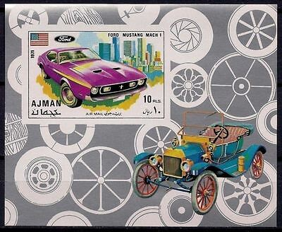 Ajman 1971 New & Vintage Sports Cars Auto Ford Mustang Transport Imperf  m/s MNH