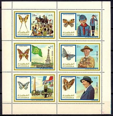 Fujeira 1972 Butterflies Jamboree Scouts Scouting Baden-Powell m/s Perf. MNH