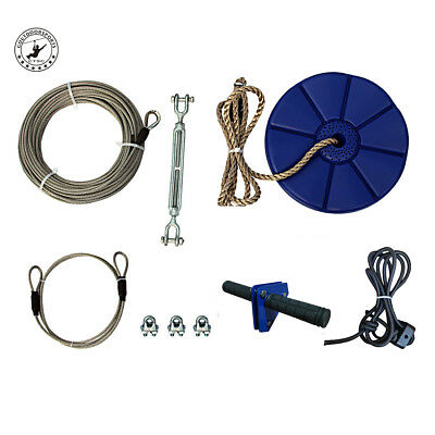 CTSC 95 Foot Zip Line Cable Kit with Brake and Seat for Kids Expedited Shipping