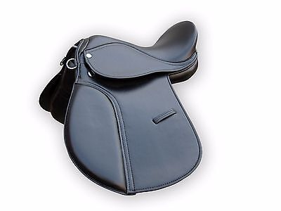 """Top Quality Synthetic Halflinger Horse Saddle Black Color In 14"""",15"""",16"""",17"""",18"""""""