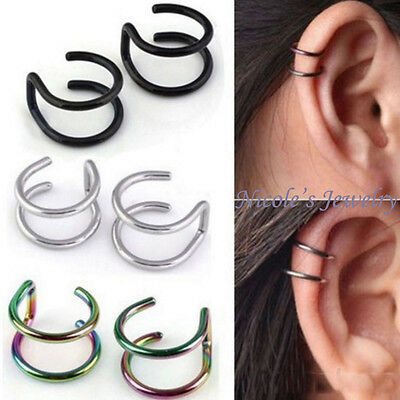 2Pcs Stainless Steel Ear Cuff Clip On Earring Fake Lip Ring Cheater No Piercing