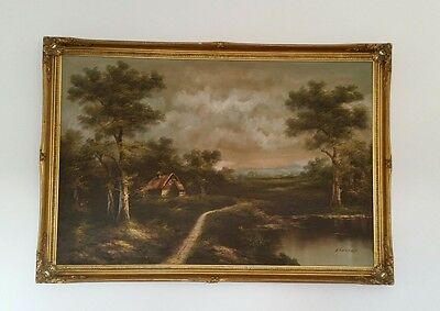 Large oil on canvas painting by artist Enderby signed gilt frame landscape