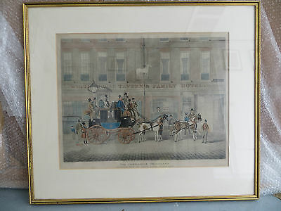 Antique Coloured Print The Cambridge Telegraph Fetter Lane by Hunt Pollard 1835