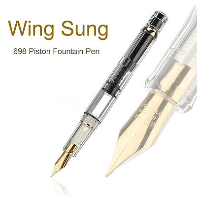 ❤ 2018 Model Wing Sung 698 Transparent Piston Fountain Pen Soft Nib Fathers Day