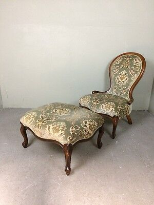 Victorian Style Nursing Fireside Chair With Matching Footstool