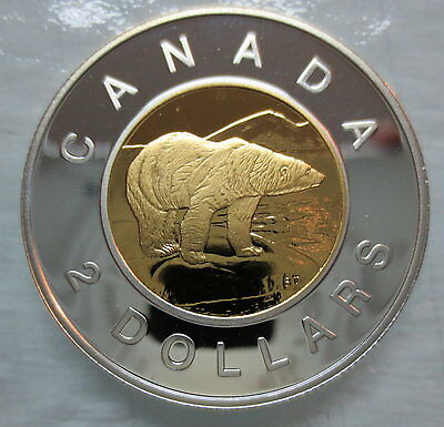 2000 Canada Toonie Proof Silver With 24K Gold Plated Core Two Dollar Coin