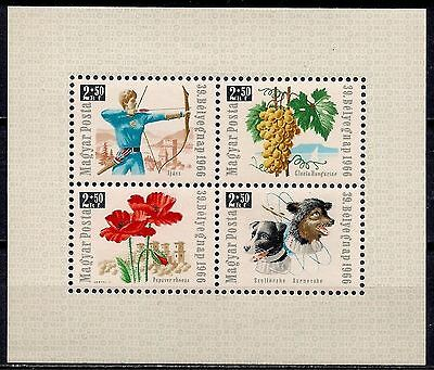 Hungary 1966 Stamp Day Space Dogs Archery Grapes Flowers/Poppy m/s MNH
