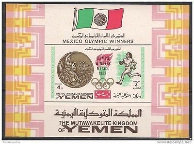 Yemen 1968 Mexico Olympic Games Sports Winners Athletics Gold medals Flag m/s