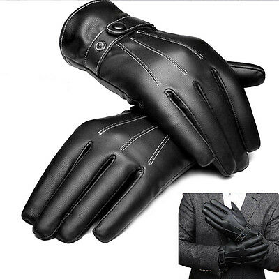 Men's PU Leather Driving Gloves Touch Screen Velvet Fashion Style Pair Black