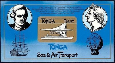 Tonga 1983 Cook Explorers Ships Montgolfier Air Balloon Aircraft Specimen MNH