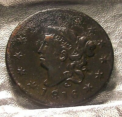1816 CORONET HEAD LARGE CENT  Free Shipping wed-1
