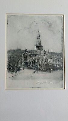 Original Antique Signed Etching Glasgow Cathedral