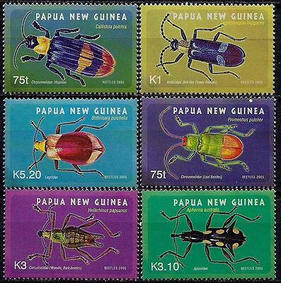 Papua New Guinea 2005 Beetles Insects Bugs Nature 6v set MNH