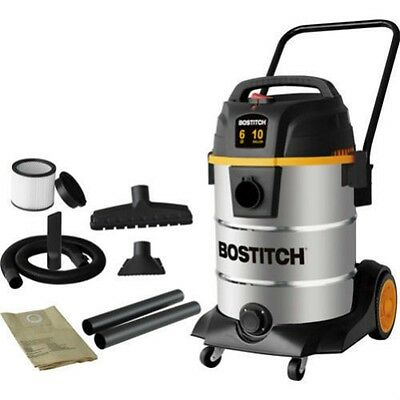 Wet Dry Shop Vac 10 Gallon Stainless Steel Portable 6 Horse Power Locking Hose