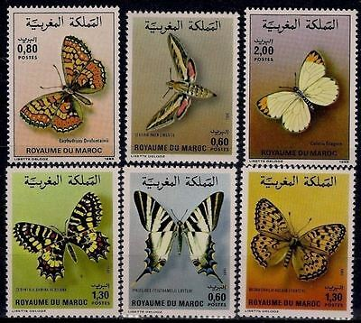 Morocco 1981/1982/1985 Butterflies Insects Moths Butterfly Farfalle 6v set MNH