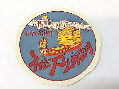 """1930's Luggage Label Shanghai The Plaza 4"""" Pre-War"""