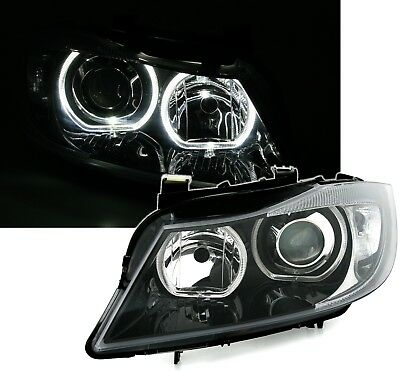 NEW SET LED ANGEL EYES HEADLIGHTS LAMPS LHD RHD for BMW E90 + E91 in BLACK