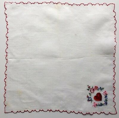 Vintage Valentines Hankie-Embroidered Heart and Pink & Blue Flowers
