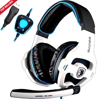 SADES SA903 7.1 Surround Sound Stereo Pro PC USB Gaming Headset with Mic in Blue