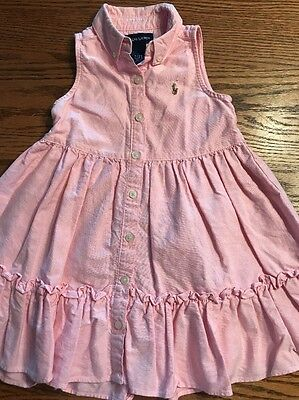 Ralph Lauren Toddler Girls Size 2T Pink Sleeveless Shirt Dress EUC