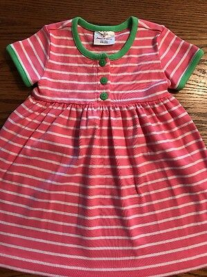 Hanna Andersson Toddler Girls Size 80, 2T Pink, White Striped Short Sleeve Dress
