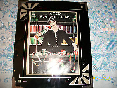 Original Antique  Art Deco Black And Silver Reverse Painted Glass  Picture Frame
