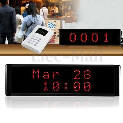 Wireless LED 4-Digit Take A Number System Display with Counter Ticket Dispenser