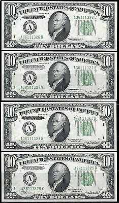 United States Lot Of Four Frn 1934A $10 Consecutive Notes Choice Uncirculated