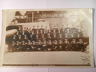 1907 Officers Of H M S Drake - Postcard- Real Photographic- Rare
