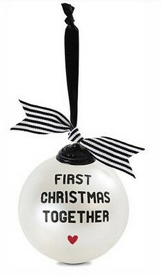 """First Christmas Together Glass Ball Ornament White Black Red Heart 4"""" New"""