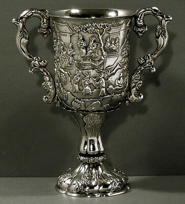 Chinese Export Silver Goblet   CUTSHING 1850         WARRIORS         10 INCHES