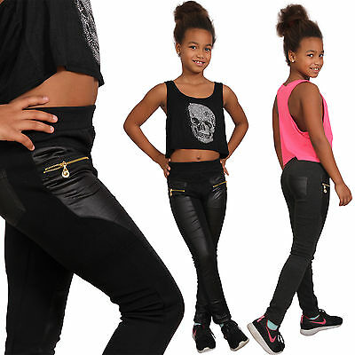 Thermo Children Leather Look Treggings Leggins Jeans Pants y1