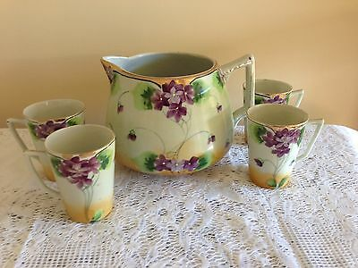 1940s Japan NIPPON Eggshell Porcelain Lemonade Pot w/4 Cups Hand Paintd Xl Cond