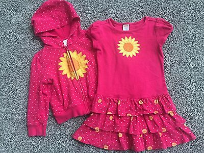 Toddler Girls Gymboree Pink Sunflower Dress and Hoodie Jacket Set size 3 EUC