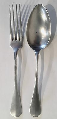 Antique 800 German Coin Silver Fork & Table Spoon Hallmarked J. Lutz