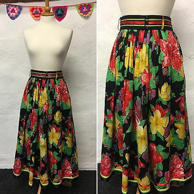 "VINTAGE BLACK COLOURFUL FLORAL PRINT SKIRT GATHERED FLARED MIDI 70s 30""W SIZE 12"