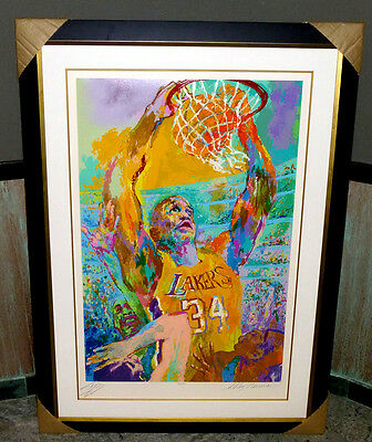 """Leroy Neiman """"Shaq"""" 341/410 Double Hand Signed: By Shaquille O'neal & Neiman"""