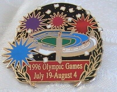 1996 Olympic Games July 19-August 4 Fireworks Over Stadium Lapel Hat Pin Pinback