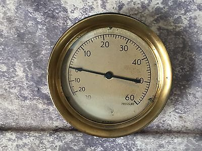 "Vtg Ashcroft Brass & Iron Pressure Gauge 7 1/4"" Diameter Industrial Steampunk"