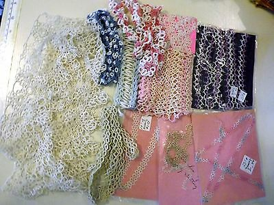 Antique and Vintage Crochet Tatting Trim Assorted LOT & Sample Cloth of Stitches